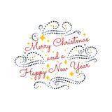 Frohe Weihnachten Glückliches neues Jahr Typografischer F.E. der bunten Weinlese stockfotos