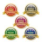 Frohe Weihnachten 4 Golden Buttons Stock Photos