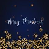 Frohe Weihnachten Goldene Funkelnschneeflocken auf dunklem Hintergrund C lizenzfreie abbildung