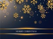 Frohe Weihnachten Goldene Funkelnschneeflocken auf dunklem Hintergrund C vektor abbildung