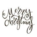 Frohe Weihnachten - Grußbeschriftungsphrase Feiertagsbuchstabe-Tintenillustration Stockbilder