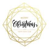 Frohe Weihnachten, guten Rutsch ins Neue Jahr-Goldfunkelnkarte, Plakat vektor abbildung