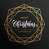 Frohe Weihnachten, guten Rutsch ins Neue Jahr-Goldfunkelnkarte, Plakat stock abbildung