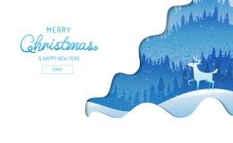 Frohe Weihnachten, guten Rutsch ins Neue Jahr, Kalligraphie, Landschaftswinter lizenzfreie abbildung