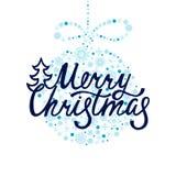 Frohe Weihnachten Handdrawn Aufschrift für Grußkarte oder -einladung Lizenzfreies Stockbild