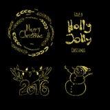 Frohe Weihnachten, Holly Jolly, glückliches neues 2016-jähriges! Kalligraphische Aufkleber, Buchstabeelemente gemacht vom goldene Lizenzfreie Stockbilder
