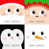 Frohe Weihnachten IKONENsatz des quadratischen Gesichtes Santa Claus Elf Snowman Penguin-Vogels Haupt Neues Jahr Lustiges gespens lizenzfreie abbildung