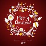 Frohe Weihnachten innerhalb Kreis-der goldenen Verzierungs-Karte auf dunkelrotem B vektor abbildung