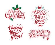 Frohe Weihnachten, Jahreszeit-Grüße, guten Rutsch ins Neue Jahr vektor abbildung