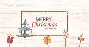 Frohe Weihnachten jeder Konzept für Flieger-, Fahnen-, Einladungs-, Karten-, Glückwunsch- oder Plakatdesign mit Baum, Geschenkbox Lizenzfreie Stockbilder