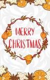 Frohe Weihnachten Karte mit einem festlichen Kranz vektor abbildung
