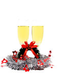 Frohe Weihnachten lokalisiert mit Champagner Lizenzfreies Stockbild