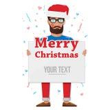 Frohe Weihnachten, Mann mit dem Brett Lizenzfreies Stockbild