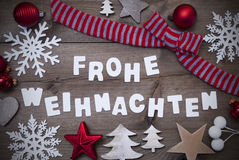 Frohe Weihnachten Mean Merry Christmas,Red Loop Decoration Royalty Free Stock Images