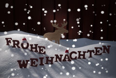 Frohe Weihnachten Means Merry Christmas Moose Stock Photography