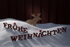 Frohe Weihnachten Means Merry Christmas Moose Snow Stock Photos
