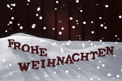 Frohe Weihnachten Means Merry Christmas Snowflakes Royalty Free Stock Image