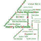 Frohe Weihnachten mehrsprachig Stockfoto