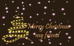 Frohe Weihnachten, mein Freund, ein stilvoller Weihnachtsbaum auf einem dunklen Hintergrund von Sternen lizenzfreie stockfotografie
