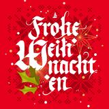 Frohe Weihnachten, Christmas card. Frohe Weihnachten, Merry Christmas in german, vintage style lettering greeting card Stock Photos