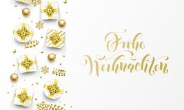 Frohe Weihnachten Merry Christmas golden German greeting card of gold gifts, stars confetti and snowflakes. Vector premium Weihnac. Hten German Christmas stock illustration