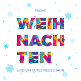 Frohe Weihnachten Merry Christmas German greeting card vector snowflake paper carving background. Frohe Weihnachten Merry Christmas and Neus Jahr Happy New Year Stock Images