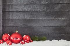 Frohe Weihnachten Merry Christmas with wood. Background and snow stock photos