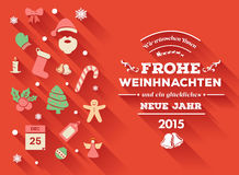 Frohe weihnachten message with christmas icons Royalty Free Stock Images