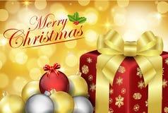 Frohe Weihnachten mit dekorativem Weihnachten sprudeln Bälle und Geschenkband lizenzfreie abbildung