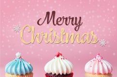 Frohe Weihnachten mit Pastellpartei des kleinen Kuchens vektor abbildung