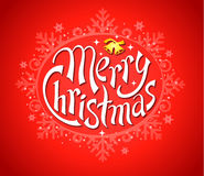 Frohe Weihnachten mit Schneeflocken auf Rot Stockbild