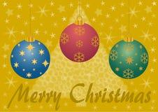 Frohe Weihnachten mit Weihnachtsbällen Stockfotos