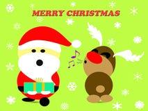 Frohe Weihnachten mit Weihnachtsmann und Ren auf grünem Hintergrund Vektor Abbildung