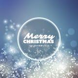 Frohe Weihnachten - modernes Art-frohe Feiertage Gruß-Karten-Design mit rundem Aufkleber, funkelnder heller unscharfer Hintergrun Stockbild