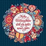 Frohe Weihnachten Neues Jahr Gratulacje w Niemieckim języku Szczęśliwi boże narodzenia w Deutschland Obrazy Stock