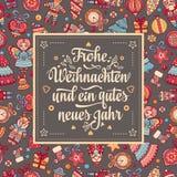 Frohe Weihnachten Neues Jahr Gratulacje w Niemieckim języku Szczęśliwi boże narodzenia w Deutschland royalty ilustracja