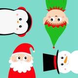 Frohe Weihnachten Neues Jahr IKONENsatz des runden Gesichtes Elfen-Santa Claus Snowman Penguin-Vogels Haupt Nette Karikatur lusti stock abbildung
