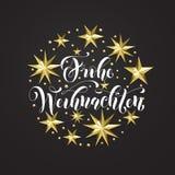 Frohe Weihnachten Niemieccy Wesoło boże narodzenia złota dekoracja, kaligrafii chrzcielnica dla Xmas zaproszenia kartka z pozdrow Obrazy Royalty Free