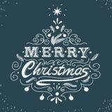 Frohe Weihnachten, Retro- Plakat mit Handbeschriftung Stockbilder