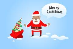 Frohe Weihnachten Santa Claus mit einem Sack Geschenken lizenzfreie abbildung
