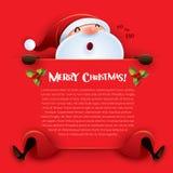 Frohe Weihnachten! Santa Claus mit großem Zeichen Stockfoto
