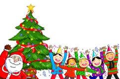 Frohe Weihnachten Santa Claus People Christmas Tree Celebration Lizenzfreie Stockfotografie