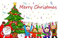 Frohe Weihnachten Santa Claus People Christmas Tree Celebration Lizenzfreie Stockfotos