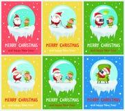 Frohe Weihnachten Santa Helper Vector Illustration stock abbildung