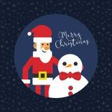 Frohe Weihnachten Santa With Snowman Card lizenzfreie abbildung