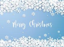 Frohe Weihnachten Schneeflockenwinter von Weiß lokalisiert auf blauer Rückseite vektor abbildung