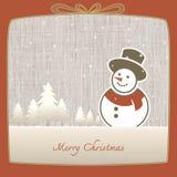 Frohe Weihnachten, Schneemann gemacht vom Papier im Winterhintergrund lizenzfreie abbildung