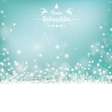 Frohe Weihnachten Stars Snow Bokeh Stars Cover. German text Frohe Weihnachten, translate Merry Christmas Royalty Free Stock Photos