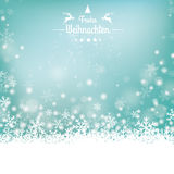 Frohe Weihnachten Stars Snow Wooden Background. German text Frohe Weihnachten, translate Merry Christmas Royalty Free Stock Image