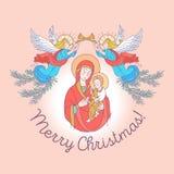 Frohe Weihnachten Tag des Mutter Die Jungfrau Maria und das b lizenzfreie abbildung